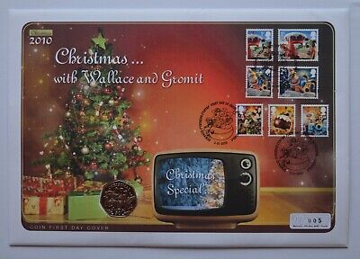 2010 Isle of Man 50p Fifty Pence Christmas Coin Cover RARE Number 005