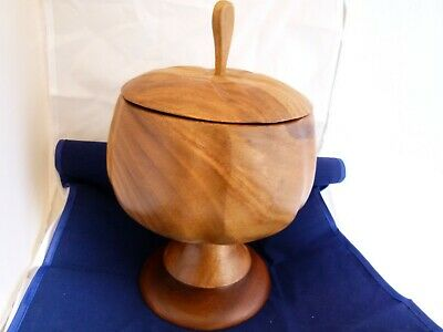 "Rare Lidded Teak Pedestal Bowl - Approx. 11"" tall by 7 1/2"" in diameter."