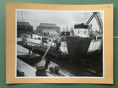 Original Thornycroft Archive Maritime Photo - Navy L.c.t. In Dock For Repairs.