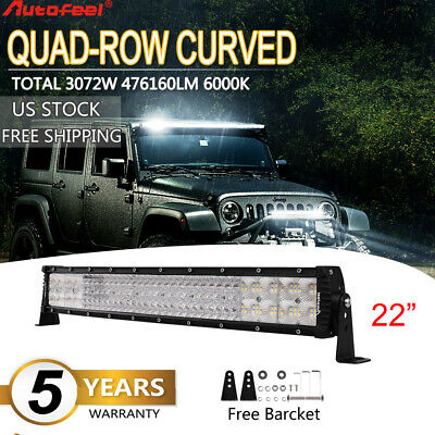 22Inch 3072W Curved LED Work Light Bar Flood Spot Offroad Driving Lamp Quad-Rows