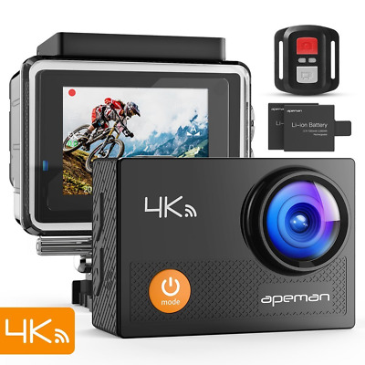 apeman 4K Action Waterproof Camera 16MP Ultra Full HD Wi-Fi Sport Cam 30M Diving