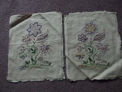 vintage pair of hand embroidery