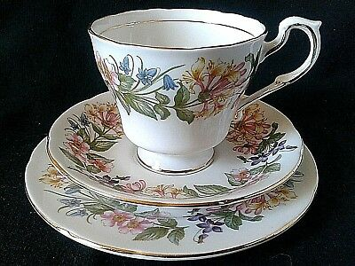 Paragon Country Lane Tea Trio Bone China Teacup Saucer & Side Plate Pink Flowers