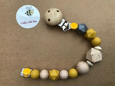 Dummy Clip - Silicone, Wooden, Crochet Beads Teether Hand Made