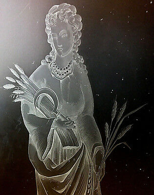 Antique French Etched Glass Door Panel Art Deco Woman Wheat Bread Kitchen Pantry