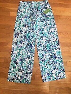 """Lilly Pulitzer NWT 32/"""" Lorena Breezy Palazzo Pant Multi Salt In The Air $118"""