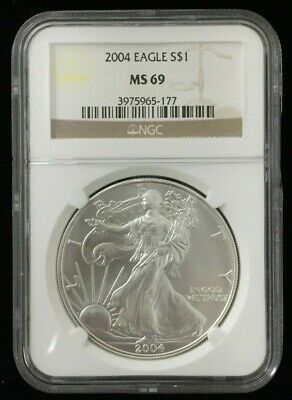 NGC Slabbed 2004 American Silver Eagle 1oz .999 Fine Silver MS69 #DS301