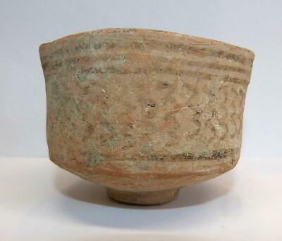 2 Small Harappan (3000-1500 Bce) Footed & Decorated Pottery Bowls