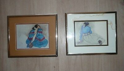 R. C. Gorman Art Framed & Matted Prints Native American Art Artist Info Set of 2