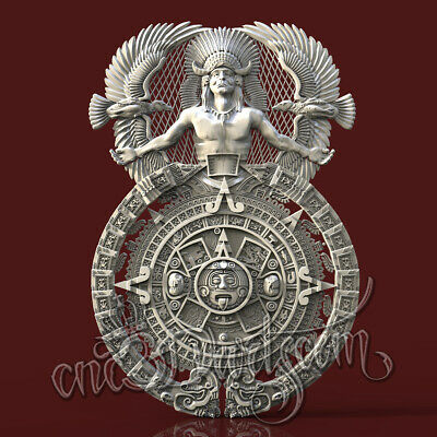 3D Model STL CNC Router Artcam Aspire Indian Mayan Calendar Panel Cut3D vcarve
