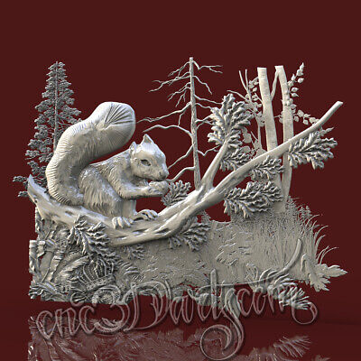 3D Model STL CNC Router Artcam Aspire Forest Animal Squirrel Panel Cut3D Vcarve