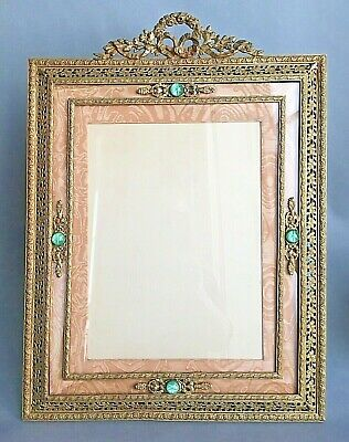 "Large 19""X14"" Antique Frame Bronze Empire Style French? 1920s Ornate Bow Gold"