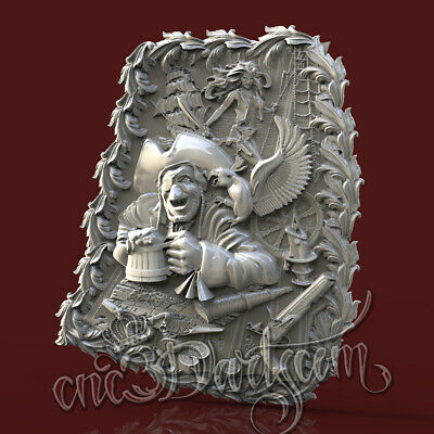 3D Model STL for CNC Router Artcam Aspire Pirate Jack Parrot Panel Cut3D Vcarve