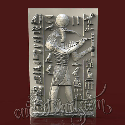 3D Model STL CNC Router Artcam Aspire Egyptian God Ibis Thoth Panel Cut3D Vcarve