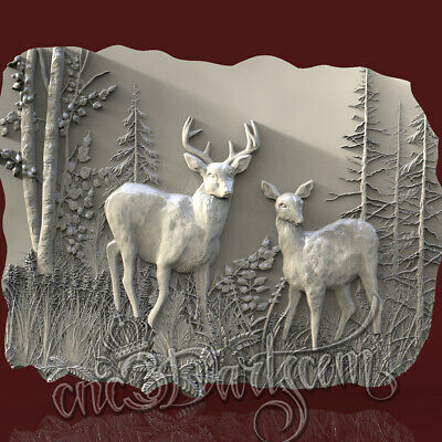 3D Model STL for CNC Router Artcam Aspire Hunting Deer Animal Panel Cut3D Vcarve