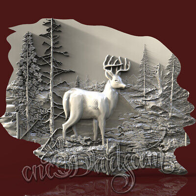 3D Model STL for CNC Router Artcam Aspire Animal Deer Forest Panel Cut3D Vcarve