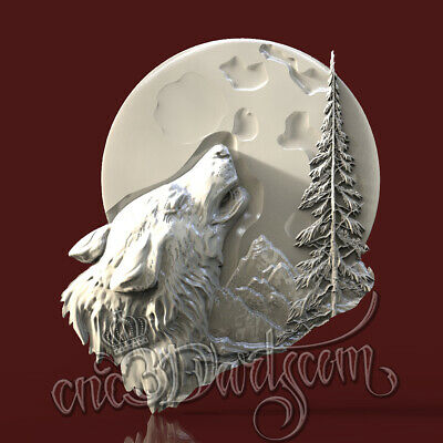 3D Model STL for CNC Router Artcam Aspire Animal Wolf Moon Panel Cut3D Vcarve