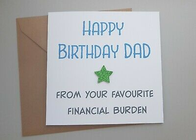 Funny Dad Father Birthday Card Rude Humour Sarcasm Banter Daughter