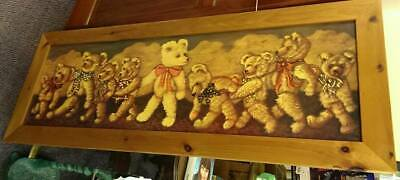 Long Pine Framed Teddy Picture [No Glass] Ideal For Child Bedroom