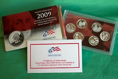 2009 S Proof DC US Territory Quarter 90% Silver 6 Coin 25c Set with Box and COA