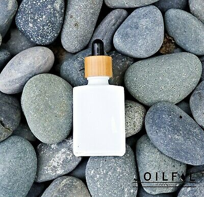 THREE 30ml (1oz) White Glass Bottle with Bamboo Wrapped Dropper