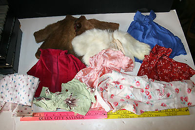 1950's 9 pc lot vintage doll dresses clothes Fur Coats