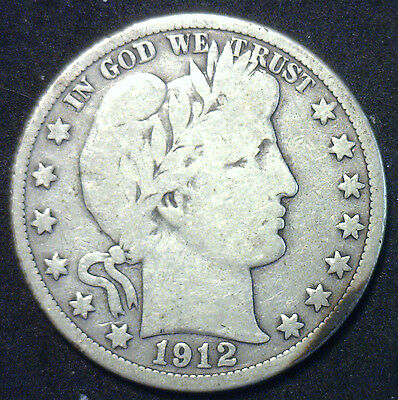 1912 D Barber Half Dollar Silver Type Coin Good Denver Fifty Cent 50c US Coin