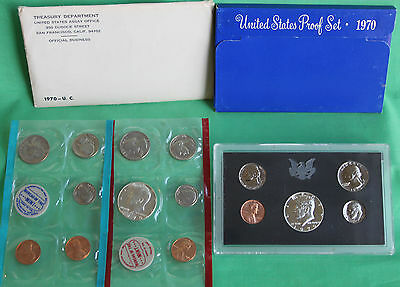 1970 Proof and Uncirculated Annual US Mint Coin Sets PDS 15 Coins 40% Silver 50c
