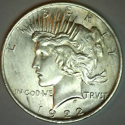 1922 Silver Peace One Dollar Brilliant UNCIRCULATED Silver $1 Coin #2