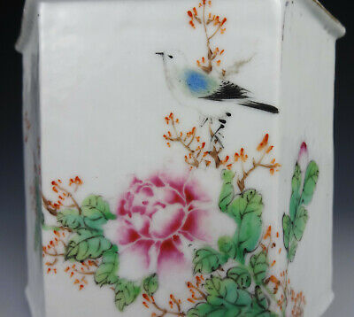 Antique Chinese Porcelain Tea Caddy Beautiful Snow Bird Republic Famille Rose