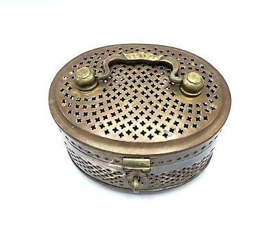 Vintage Brass Oval Storage Box with Handle & Lock Loop Treasure Chest