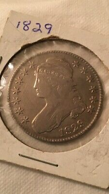 1829 Capped Bust Silver Half Dollar 50C Lettered Edge Very Nice Coin Beautiful