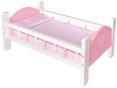 Fun Factory Wooden Toys Pretend Play - Doll Baby Cot Bed