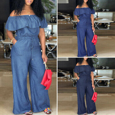 Women Plus Size Baggy Solid Off Shoulder Jumpsuits Playsuits High Waist Overalls