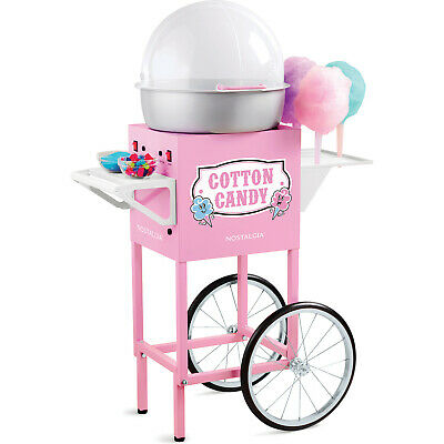 Commercial Cotton Candy Maker Floss Machine w/ Cart & Stand ~ Nostalgia Electric