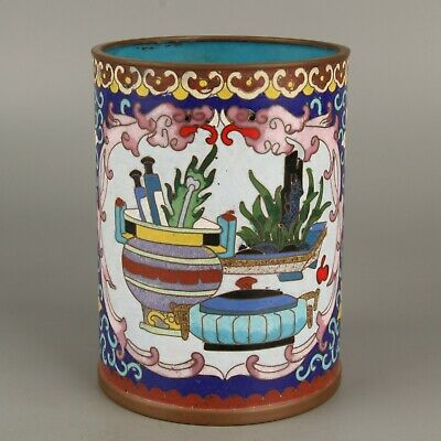 Chinese Exquisite Handmade beast copper Cloisonne Brush Pot