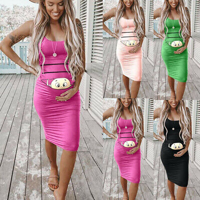 Women Cute Baby Printe Pregnant Summer Sleeveless Maternity Dress Bodycon Dress