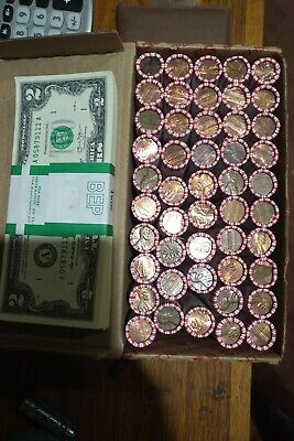 Unsearched Penny Rolls Wheat Indian Copper LUCKY FREE $2 BILL with purchase(10)