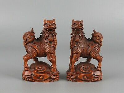 Chinese Exquisite Handmade Kirin Carving Boxwood statue a pair