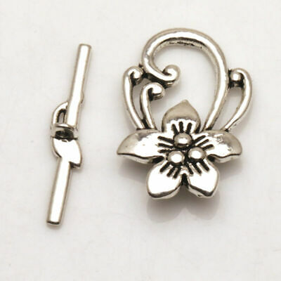 Necklace Toggle Flowers Fit Findings  Tibetan Jewelry Clasps Silver