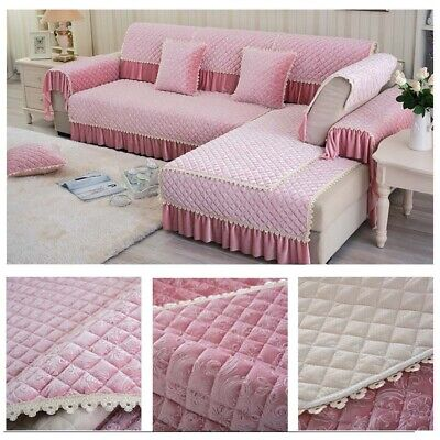 New Quilted Microfiber Slipcovers Couch Sofa Furniture Protector Cover Anti-slip