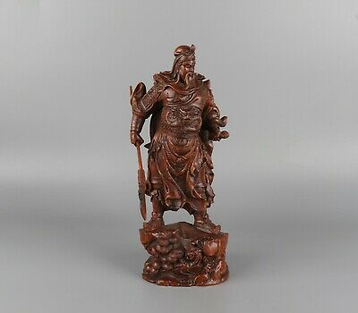 Chinese Exquisite Handmade Guan Yu Carving Boxwood statue