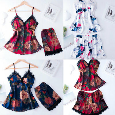 2Pcs Floral Womens Lace Sleeveless Sleepwear Satin Nightwear Lingerie Dress Suit