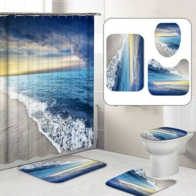Beach Style Shower Curtain Set Toilet cover waterproof mat Duschvorhang Bathroom