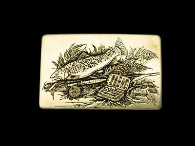 RA15142 VINTAGE 1970s **TROUT FISHING** COMMEMORATIVE SOLID BRASS BUCKLE
