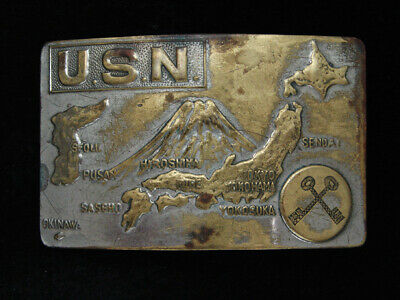 RB03173 VINTAGE 1940s **US NAVY WORLD WAR II SOUVENIR** MILITARY BELT BUCKLE
