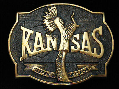 Pk05169 *Nos* Vintage 1977 **Kansas** Statehood Commemorative Solid Brass Buckle