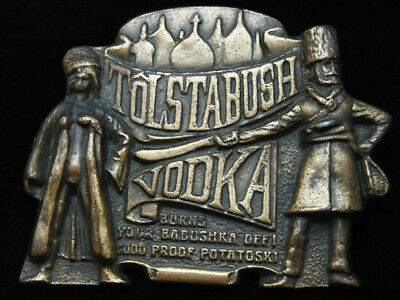 PF25123 VINTAGE 1970s **TOLSTABUSH VODKA BURNS YOUR BABUSHKA OFF!** BOOZE BUCKLE
