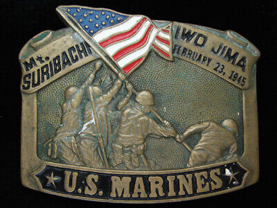 Pf07146 Vintage 1982 **United States Marines** Military Solid Brass Belt Buckle