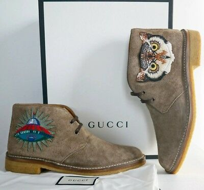 ed03142fd4be GUCCI Owl Bear Ardesia Suede Chukka Boots Men's Shoe G9/10US $895 100% Auth